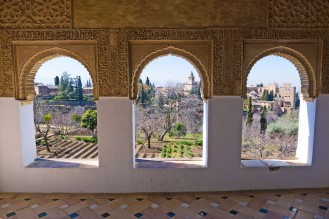 This my favorite photo in the Gallery: the Alhambra as seen through the windows of the Generalife.