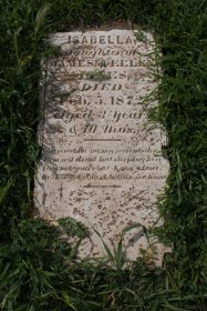 """Isabella Jones, died 1872, age 3. """"Weep not for me, my parents dear // I am not dead but sleeping here // I am not yours but Jesus' alone // He thought it best to take me home"""""""