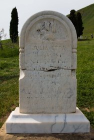 "Julia Etta Piercy, died 1870, age 2. ""Too sweet a flower to bloom on Earth // She is gone to bloom in Heaven"""