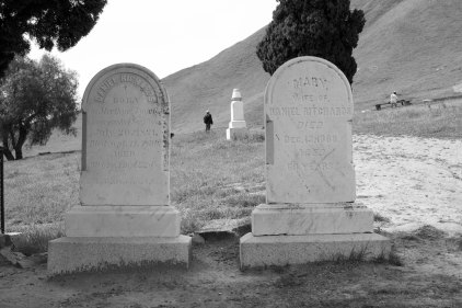 """Daniel Richards, of Merthyn Tydvil, Glamoryanshire, South Wales. Died 1890, Age 69 (""""Gone by sight but not by memory""""). Wife Mary, died 1888, age 69 (""""Asleep in Jesus"""")"""