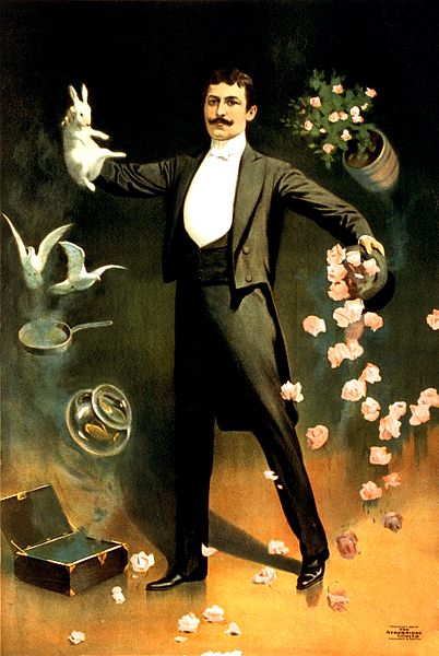 Zan Zig performing with rabbit and roses magician poster 1899 2