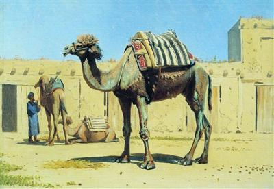 Camel in the courtyard caravanserai 1870 jpg Portrait