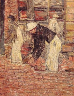Bricklayers, Childe Hassam